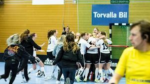 Glada miner när laget efter den avgörande matchen mot Tyresö Trollbäcken IBK tog sig upp till Allsvenskan. Foto: Peter Selemark