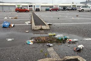 Den här bilden från parkeringen på Birsta är tagen på söndagsförmiddagen vid 11-tiden.