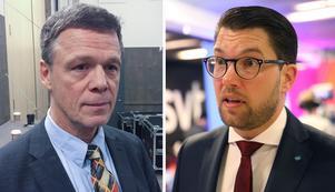Martin Strid, som i helgen blev rikskändis efter ett rasistiskt inlägg vid partiets landsdagar, och SD-ledaren Jimmie Åkesson.