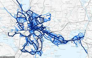Foto: Skärmdump från falun.se som visar de olika prioriteringsnivåerna på det kommunala vägnätet.