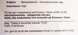Sanna Nordmark har kvar mejlet med kallalsen till mötet där nedläggningsbeskedet kom.