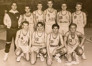 Västerås Baskets DM-segrare 1991. Bakre raden från vänster: Mikael Stål, coach, Håkan Bladin, Magnus Nolén, Markus Svensson, Per Fredriksson, Andreas Videhult. Främre raden från vänster: Emil Gunnarsson, Patrik Löwén, Juha Toivanen, Magnus Wedhammar.