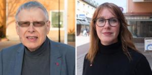 Socialdemokraterna Glenn Andersson och Ulrika Spårebo menar att kommunalråd Anders Wigelsbo skyller ifrån sig i stället för att ta ansvar för kommunens ekonomi.