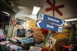 Anna Pamuk och Lollo Johansson på Fjällveterinären har försökt skapa en fjällstugekänsla på mottagningen.