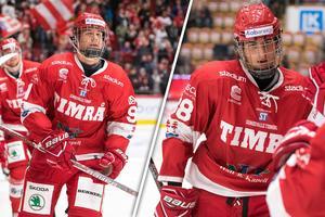 Filip Hållander och Jacob Olofsson stannar båda i Timrå nästa säsong, oavsett division. Bild: Bildbyrån