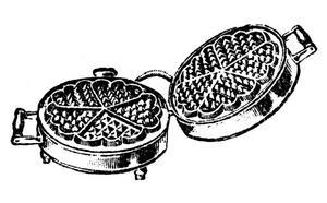 Ur katalogen 1942. Våfflan med anor från 1600-talet skulle tillagas i ett runt våffeljärn med plats för fem hjärtformer.