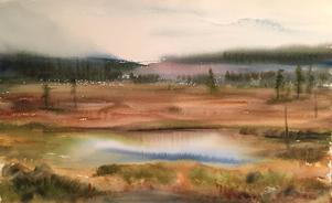 En målning som sammanfattar alla  konstnärens egna favoritmiljöer: skog, myr och sjö och till och med ett hygge i fjärran. Bild: Eeva-Liisa Holappa Jonsson