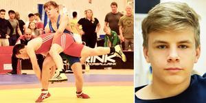 Vilhelm Larsson brottade till sig ett USM-silver. Här i matchen mot Kevin Makota Ström.  Foto: Jan Öhrbom och Navid Tajhizi (lilla bilden)