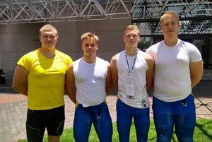 Örebro Black Knights har fyra spelare med i junior-VM i Mexiko. Från höger: Anton Oskarsason, Johannes Lindéus, Erik Klerestam och Sebastian Nilsson. Foto: Privat.