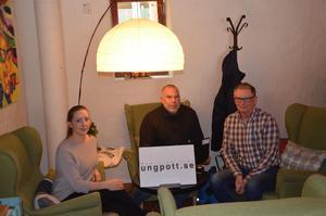 Ung Pott i Sundsvall möter ungdomar varje torsdag mellan 13–15 i i Unga magasinet som ligger i Kulturmagasinet. Fr. v: Rebecca Lampinen, Tommy Lerstrand och Håkan Nordman från kommunen.