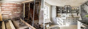 Kök och trapp till andra våningen. Förebild: Eija Salminen Efterbild: Svensk Fastighetsförmedling Arboga
