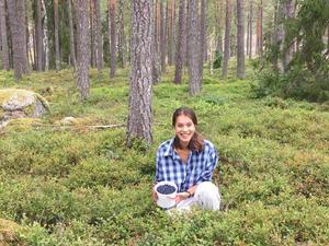 Blåbärslycka i blåbärsskogen. Även i mitten av augusti gick det att fylla hinkarna. Bilden är tagen utanför Kungsör av min syster Kristin Tran, skriver Bonnie Tran, som medverkar på bilden.