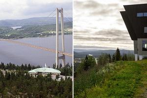 Två unika landmärken i Höga Kusten att besöka och uppleva - Höga kusten-bron vid Hornöberget och Hallstaberget i Sollefteå, med dess tillhörande hotell.