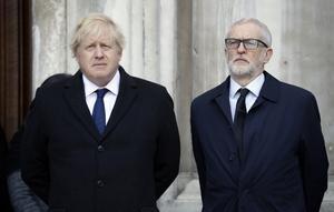 Boris Johnsson (till vänster) vann valet. Jeremy Corbyn (till höger) förlorade.