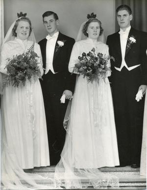 Dubbelbröllop.Från vänster: Siv och Åke Andersson (Ackes svåger)  och Maj och Acke Pettersson som vigdes 1952.