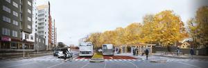 Såhär är det tänkt att det ska se ut på Rudbecksgatan. Två av dagens bilfiler görs om till bussfiler. Illustration: Anders Lind, Örebro kommun.