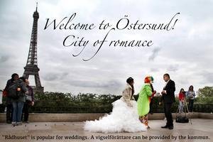 Välkommen till Östersund! Den romantiska staden. Rådhuset är populärt för bröllop och vigselförrättare kan säkert kommunen fixa.