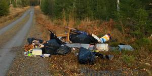 På en liten väg i Nornskogen påträffades en stor mängd sopor på söndagen.