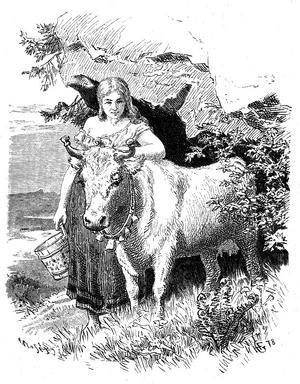 Ett skogsrå med boskap. Illustration av Hans Gude från 1879.