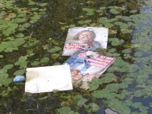 Vi i Vänsterpartiet Norrtälje vill utmana övriga partier att inte sätta upp affischer inför valet, Vi möter hellre politikerna på gator och torg än på affischer i diken och vattendrag, skriver Britt-Mari Bardon och Ola Nordstrand. Foto: Ola Nordstrand.