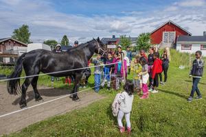Barnen skrattade och hade roligt när de fick besöka bondgården.