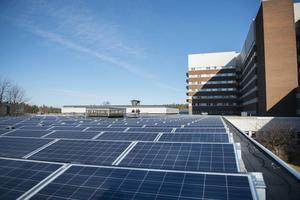 Solelanläggningen på Sundsvalls sjukhus.