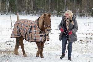 Mia Holm leder hästen ut på gården i Lohärad.