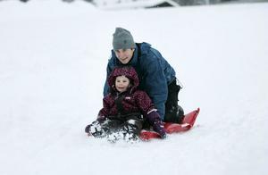 PULKAN - EN FAVORIT. Snön yr när Nora Stockhaus, 4 år, kommer nerfarandes i pulkabacken med pappa Fredrik Jonasson.