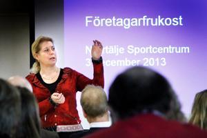 Infrastrukturminister Catharina Elmsäter-Svärd (M) besökte Norrtälje under tisdagsmorgonen.