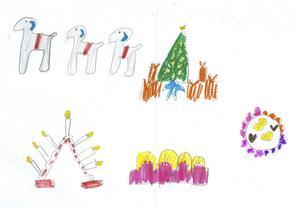 Tilda 7år från Skutskär, har ritat julbockar, julgran och adventsljusstakar till Tomten. God Jul!