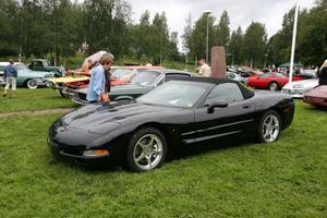 Under bilutställningen i Öjeparken kunde man gå runt och titta på olika sorters bilar, till exempel sportbilar.