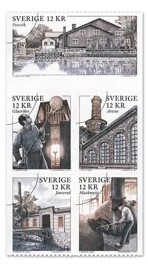 Posten släppte på torsdagen ett häfte med fem frimärken med temat Bruksmiljöer. Förutom whiskytillverkningen i Mackmyra är det bruken i Forsvik, Glasriket, Avesta och Jonsered.