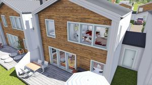 Varje hus har en boendeyta på 129,6 kvadratmeter,