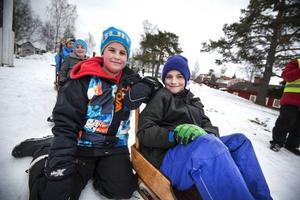 Alexander Borg och William Valskrå har precis hoppat i hö. Nu ska vännerna åka