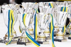 Pokalerna fick stå kvar på bordet och skickas med post till vinnarna i stället.