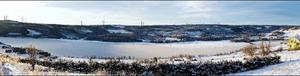 Här, på Hällberget och Nordbyn sydväst       om Kaxås, föreslås 24 vindkraftverk att byggas. Montaget visar ungefär hur det kommer att se ut.  Foto: Magnus Mikaelsson