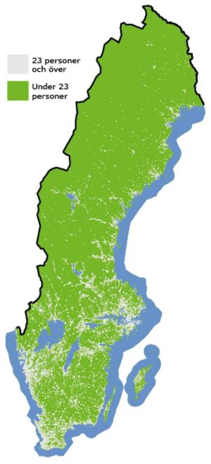 Sverige är ett glesbefolkat land och på stora områden bor bara enstaka personer per kvadratkilometer.