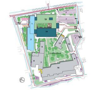 Enligt förslaget ska akutmottagningen och ambulansintaget flyttas från dagens läge på Rosenborgsgatan och i stället nås via Doktorsvägen.