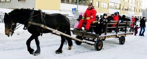 Trots många vändor, fylldes hästvagnen med små förväntansfulla besökare varje gång.