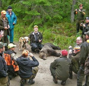 Många tog chansen att titta närmare på och fotografera den skjutna björnen. Skinnet har skänkts till bygden och det lokala viltvårdsområdet tänker låta bereda det och placera det i en samlingslokal i Björbo.