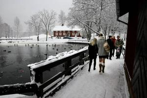 Vackert vintervitt på Högbo bruk och besökarna medgav villigt att julstämningen var hög.