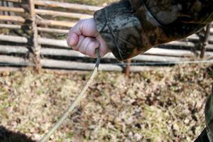 Så här håller man i slagrutan, så man får rätt grepp. Händerna ska vara vridna uppåt. Den ska bestå av två rätt långa grenar, så man får ett bra grepp.