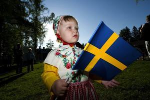 Ung firare på Rommehedslägret.. Klara Elfström, två år, var glad för sina flagga, men kanske lite fundersam på alla gubbar med konstiga kläder och gevär.