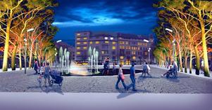På sommaren en bassäng med fontäner, på vintern en skridskobana. Örebroarna kommer att få en ny lekplats mitt i stan.