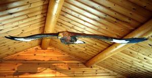 Örnen som håller att vakande öga i stugan är tillverkad av Danne Lööf.