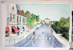 Akvarell av Carin Hedlund, Stationsgatan i Kramfors.