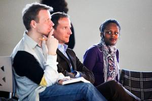 Joel Backström, Lars Strannegård och Wiktoria Walldin var inbjudna att tala vid Färgfabrikens seminarium om Östersund.