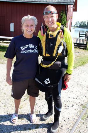 Anna-Carin Nordin och hennes följeslagare kanotisten Timo Gillberg.