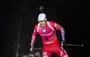 Kvällens vinnare Emil Hegle Svendsen, som var ende åkare som sköt fullt.