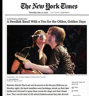 Hyllas av USA-press. New York Times hade i veckan ett stor artikel där tidningens recensent hyllade Borlängebandet Mando Diao som i måndags spelade på Bowery Ballroom i New York.